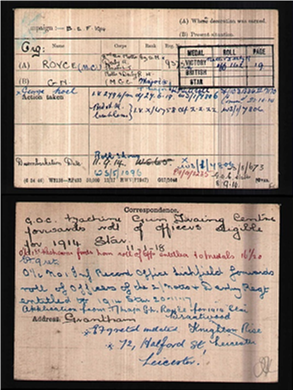 medal index card for george royce